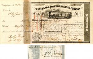 Cleveland & Toledo Rail-Road Company signed by A.G. Jerome - Stock Certificate