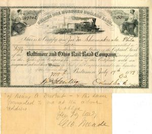 Baltimore and Ohio Rail-Road Company Transfer signed by Geo. Meade - Stock Certificate