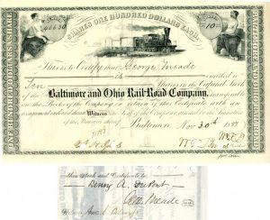 Baltimore and Ohio Rail-Road Company signed by Geo Meade - Stock Certificate