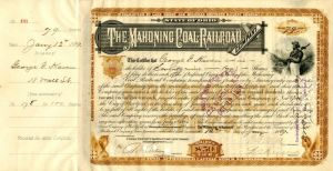 Mahoning Coal Railroad Company signed by H.B. Payne - Stock Certificate