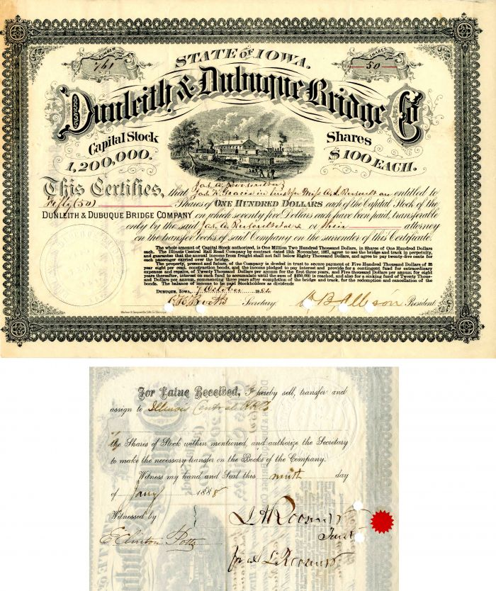 Dunleith & Dubuque Bridge Co. signed by James A. Roosevelt - Stock Certificate