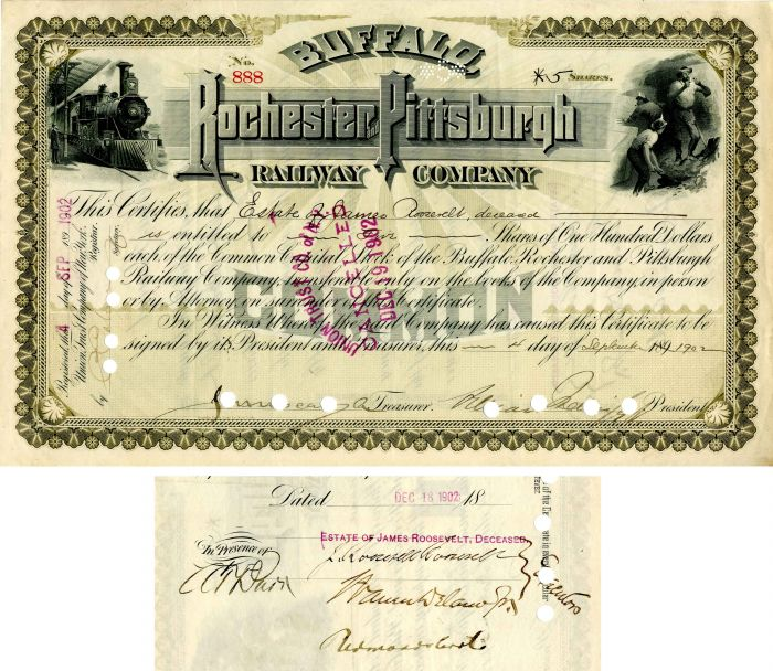 Buffalo, Rochester and Pittsburgh Railway Company signed by J. Roosevelt Roosevelt - Stock Certificate