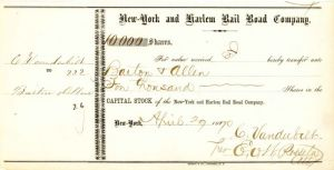 New-York and Harlem Rail Road Company signed by E.V.W. Rossiter - Stock Certificate