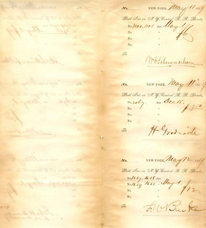 N.Y. Central R.R. Bond stubs signed by Wm. Schermerhorn