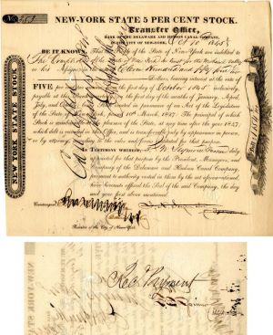 Bank of the Delaware and Hudson Canal Company signed by Francis Spinner - Stock Certificate