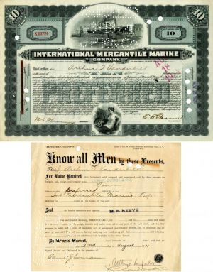 International Mercantile Marine Company signed by Arthur T. Vanderbilt - Company that Made the Titanic - Stock Certificate