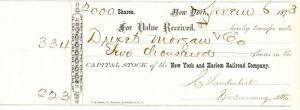 New York and Harlem Railroad Company transferred to Drexel Morgan Co  - Stock Certificate
