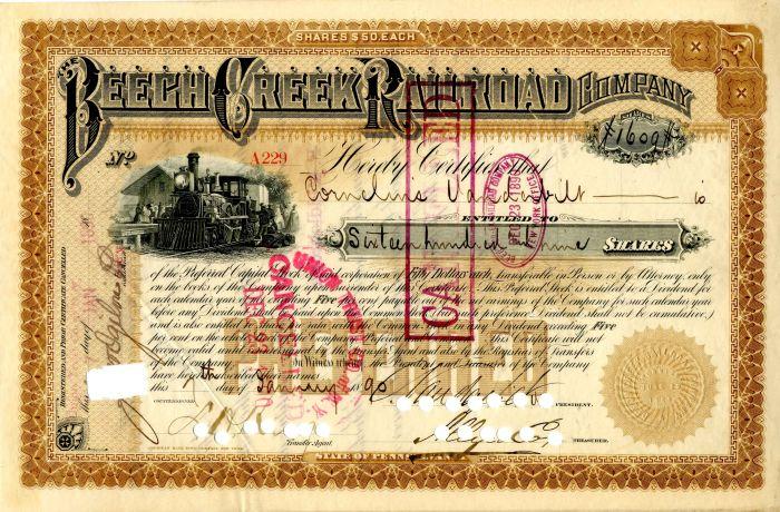 Beech Creek Railroad Company issued to Cornelius Vanderbilt Jr. - Stock Certificate