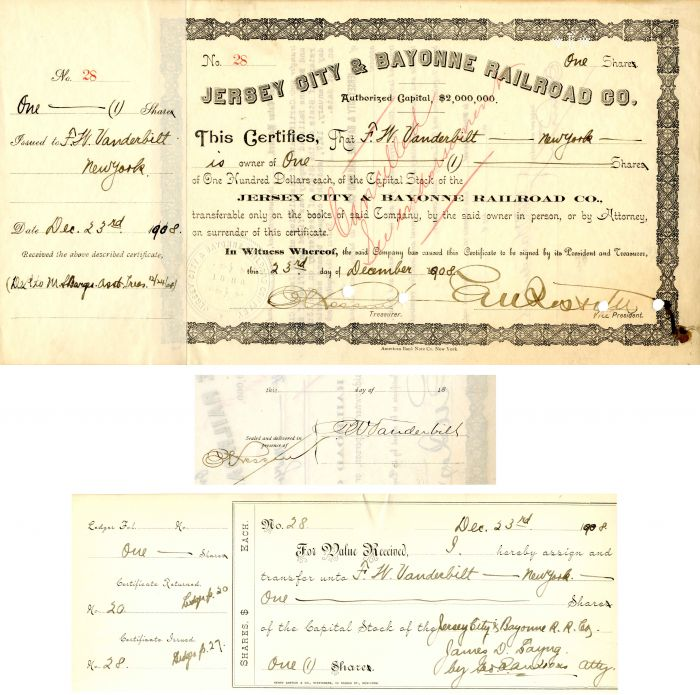 Jersey City and Bayonne Railroad Co. signed by Frederick W. Vanderbilt - Stock Certificate - SOLD