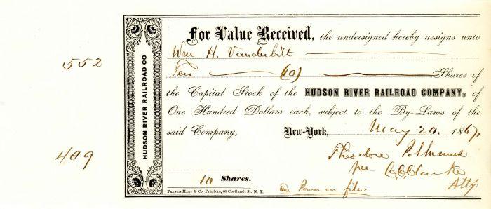 Hudson River Railroad Company issued to Wm H. Vanderbilt - Stock Certificate