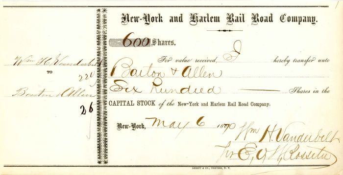 New-York and Harlem Rail Road Company signed by E.V.W. Rossiter for Wm. H. Vanderbilt - Stock Certificate