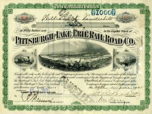 Pittsburgh and Lake Erie Railroad Co. issued to William K. Vanderbilt - Stock Certificate