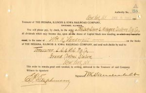 Indiana, Illinois, and Iowa Railroad Company signed by Wm. K. Vanderbilt
