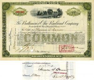 Baltimore and Ohio Railroad Company issue to and signed by Clarence S. Darrow - Stock Certificate