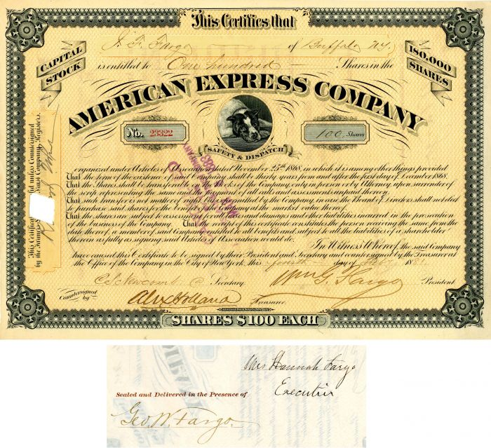 American Express Company signed by Wm. G. Fargo, Hanna Fargo and Geo. W. Fargo - Stock Certificate