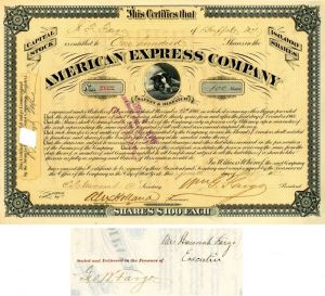American Express Company signed by Wm. G. Fargo, Hanna Fargo and Geo. W. Fargo - Stock Certificate