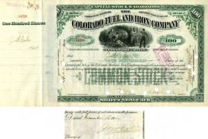 Colorado Fuel and Iron Company signed by John W. Gates