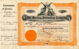 Harding Publishing Company signed by W.G. Harding - Stock Certificate