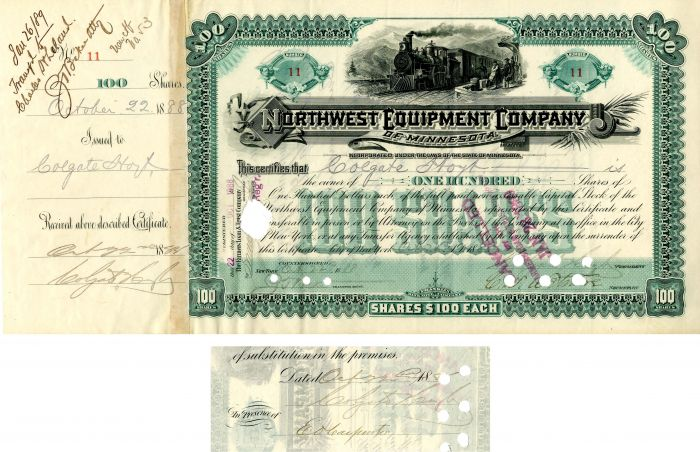 Northwest Equipment Company of Minnesota issued to and signed by Colgate Hoyt - Stock Certificate