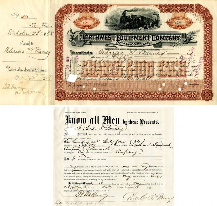 Northwest Equipment Company of Minnesota signed by Charles T. Barney - Stock Certificate