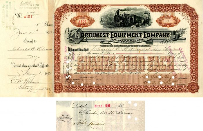 Northwest Equipment Company of Minnesota issued to and signed by Charles W. Wetmore and Colgate Hoyt - Stock Certificate