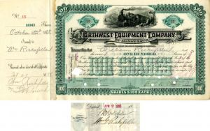 Northwest Equipment Company of Minnesota signed by Wm. Rockefeller and Colgate Hoyt - Stock Certificate