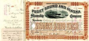 Puget Sound and Alaska Steamship Company signed by Charles H. Leland and Colgate Hoyt - Stock Certificate