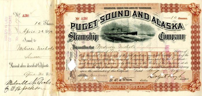 Puget Sound and Alaska Steamship Company signed by Colgate Hoyt - Stock Certificate