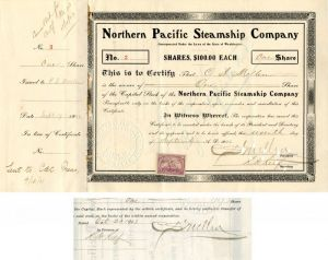 Northern Pacific Steamship Company signed by C.S. Mellen - Stock Certificate