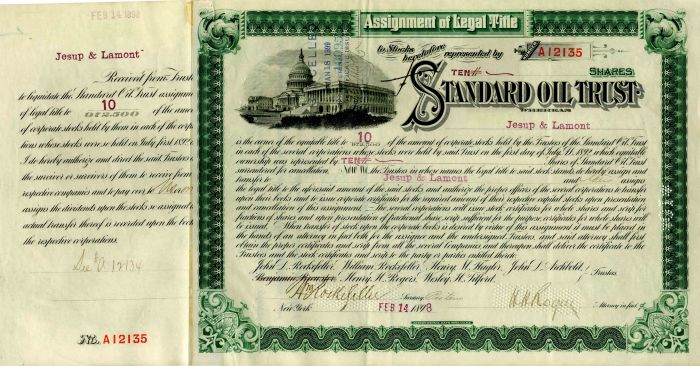 Standard Oil Trust signed by Wm. Rockefeller and H.H. Rogers - Stock Certificate