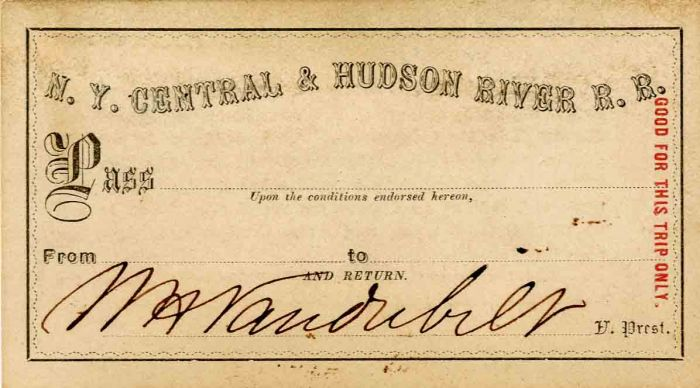 N.Y. Central & Hudson River R.R. Pass signed by Wm. H. Vanderbilt