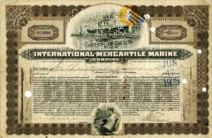 International Mercantile Marine Company Issued to Sir Christopher Furness - Company that Made the Titanic - Stock Certificate