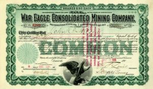 War Eagle Consolidated Mining Company Issued to John B. Stetson - Stock Certificate