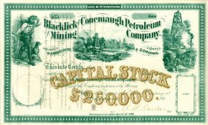 Blacklick and Conemaugh Petroleum and Mining Company signed by the President - Stock Certificate