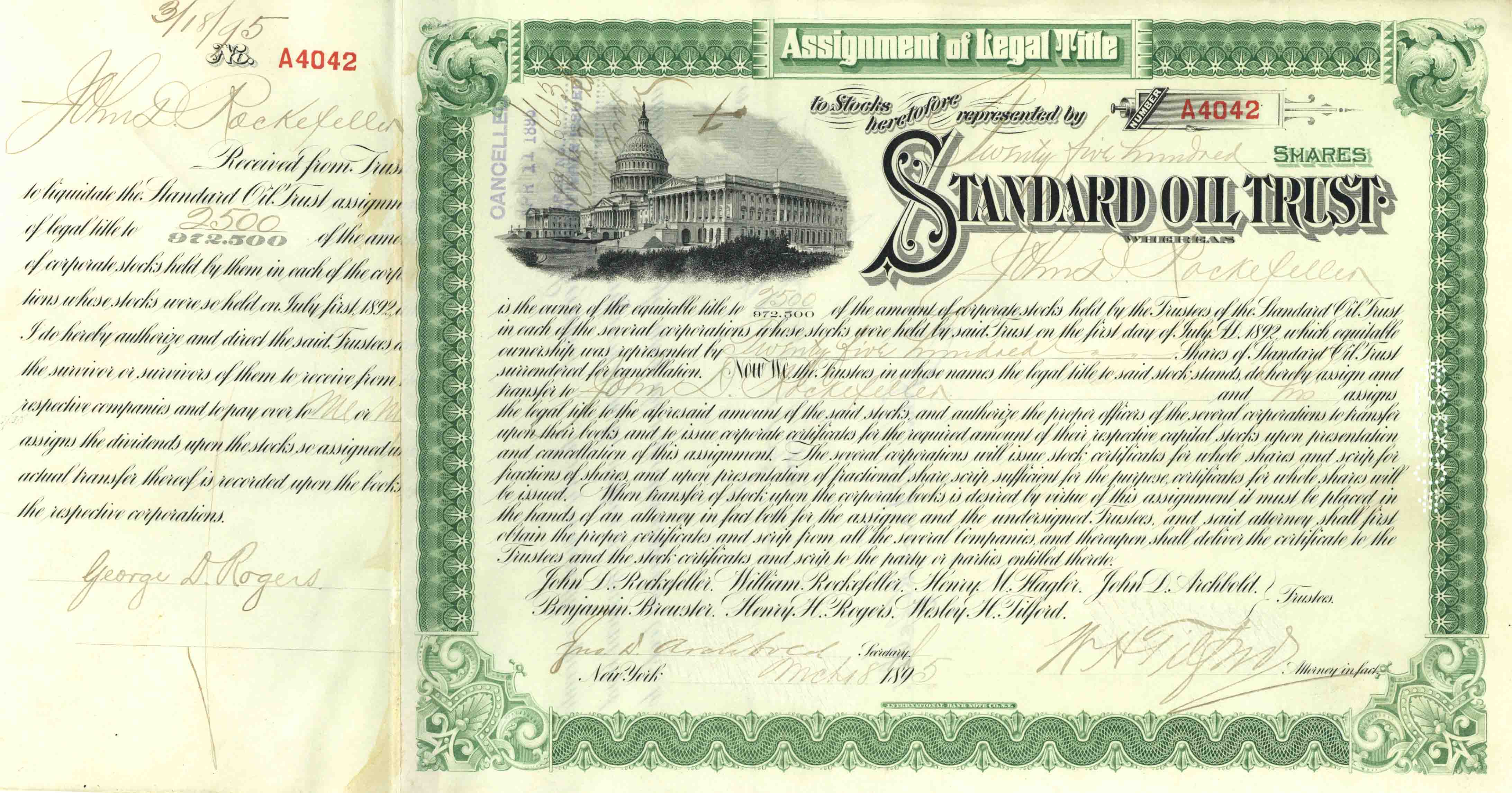 Standard Oil Trust Issued to and Signed by J.D. Rockefeller - Stock Certificate - Also signed by Archbold, Tilford and Rogers