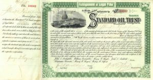Standard Oil Trust signed by J.D. Rockefeller, Archbold, Tilford and Rogers - Stock Certificate - SOLD