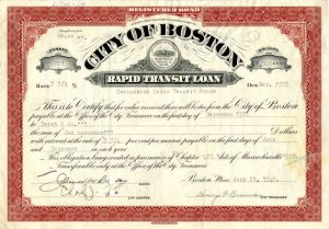 City of Boston signed by James M. Curley - Bond - SOLD
