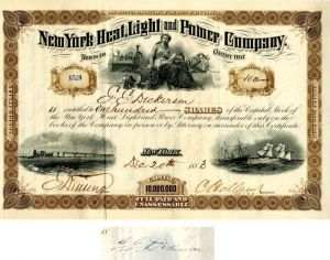 New York Heat, Light and Power Company Issued to and signed by E.E. Dickinson - Stock Certificate