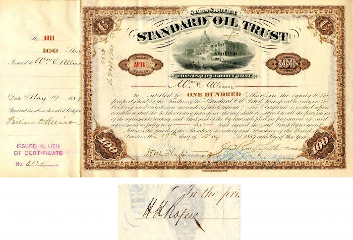 Standard Oil Trust signed J.D. Rockefeller, H.M. Flagler and H.H. Rogers - Stock Certificate