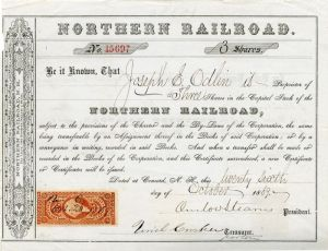 Northern Railroad signed by Onslow Stearns - Stock Certificate