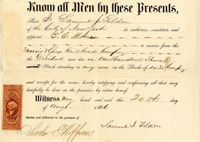 Morris & Essex Railroad Company signed by Samuel J. Tilden - Stock Certificate