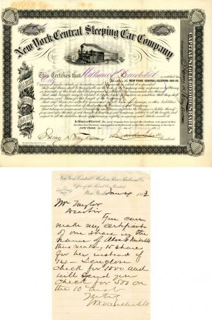 New York Central Sleeping Car Company issued to William K. Vanderbilt and signed ALS - Stock Certificate - SOLD