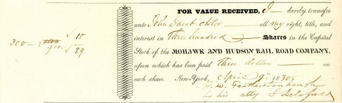 Mohawk and Hudson Rail Road Company Issued to John Jacob Astor