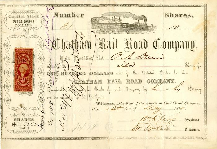 Chatham Rail Road Company signed by Wm. R. Cox - SOLD