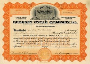 Dempsey Cycle Company, Inc. signed by W.L. Dempsey