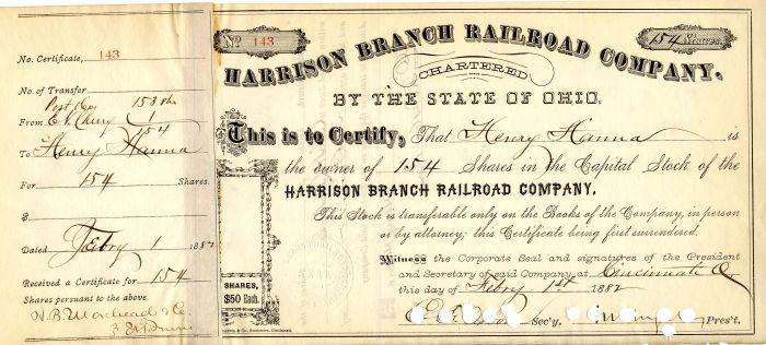 Harrison Branch Railroad Company Issued to Henry Hanna