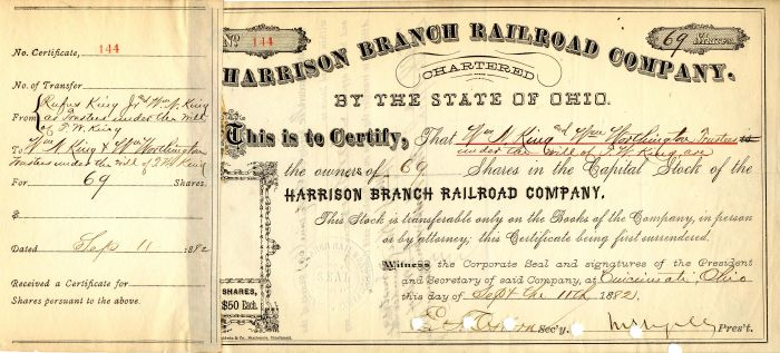 Harrison Branch Railroad Company Issued to trustees of Rufus King