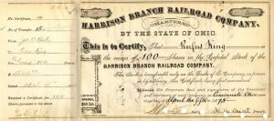Harrison Branch Railroad Company Issued to Rufus King