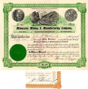 Minnesota Mining & Manufacturing Company signed by John. T. Michaud