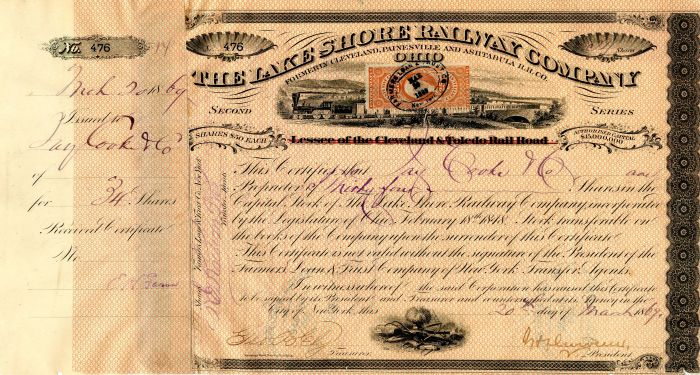 Lake Shore Railway Company Issued to Jay Cooke & Co. and signed by Henry Devereux - Stock Certificate